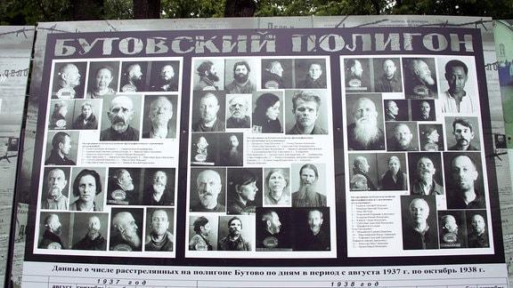 Fotos auf einer Erinnerungstafel