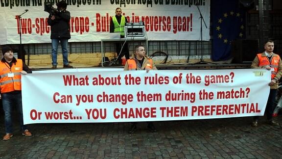 Spediteure aus Osteuropa protestieren in Brüssel