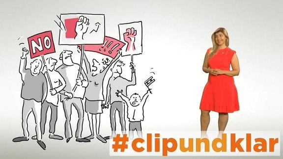 Zeichnung: Demo. Daneben das Foto einer jungen Frau in rotem Kleid.
