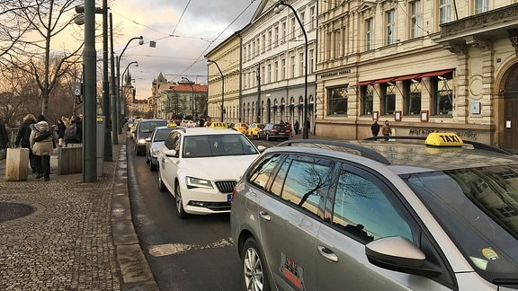 Taxiprotest in Prag