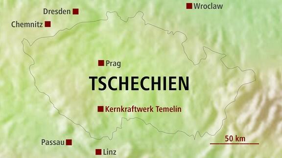 Karte mit Temelin AKW Tschechien