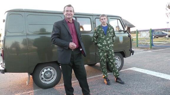 Nikolaj Woronetzki mit Fahrer
