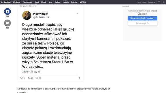 Twitter tweet von Piotr Wilczek