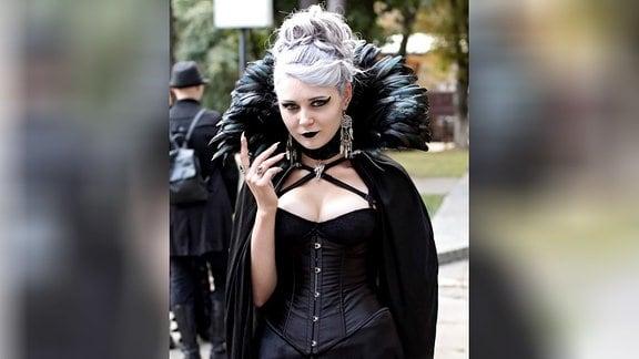 Teilnehmerin des Deti Nochi Gothic-Festivals