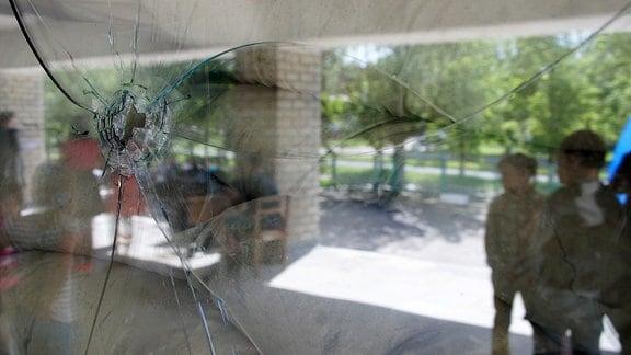 Fensterscheibe mit Einschussloch