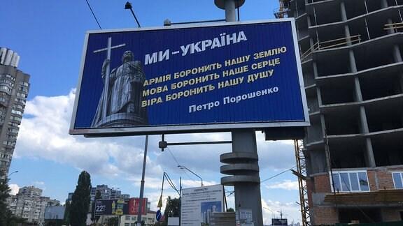 Riesige Wahlwerbung in Kiew