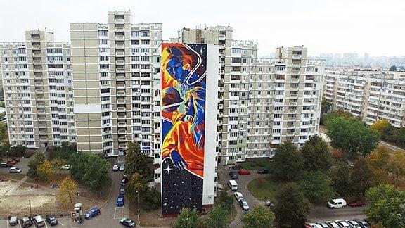 Graffiti am Hochhaus.