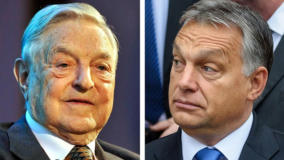 Bildcombo: Viktor Orban und George Soros