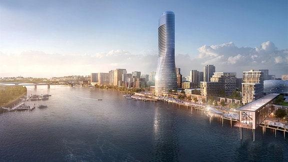 Visualisierung des geplanten neuen Belgrader Super-Stadtviertels Waterfront
