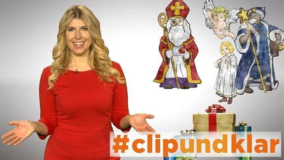 Bildkomposition aus blonder Moderatorin in rotem Kleid und verschiedenen weihnachtlichen Figuren