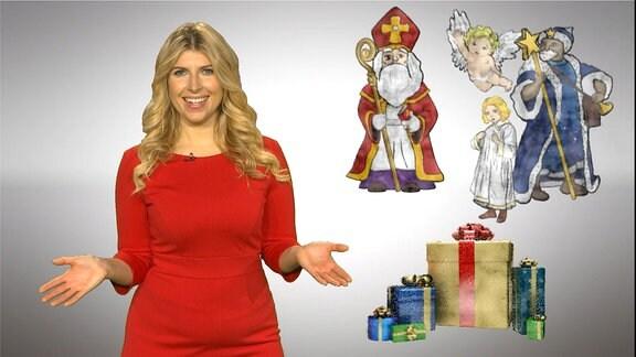 Blonde Frau i rotem Kleid mit verschiedenen Figren im Hintergrund, Väterchen Frost, Weihnachtsengel, Jesuskind