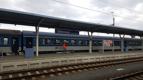 Ein Bahnsteig mit einem Zug