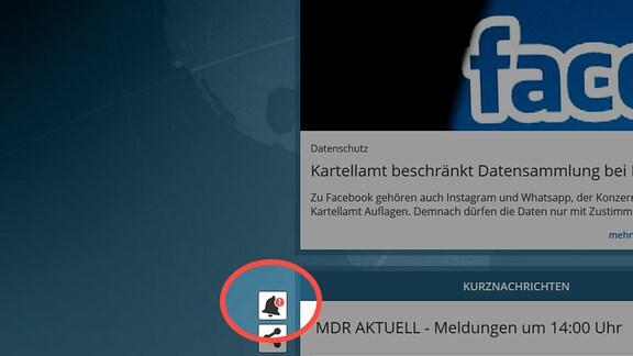 Icon WebPush auf der linken Seite