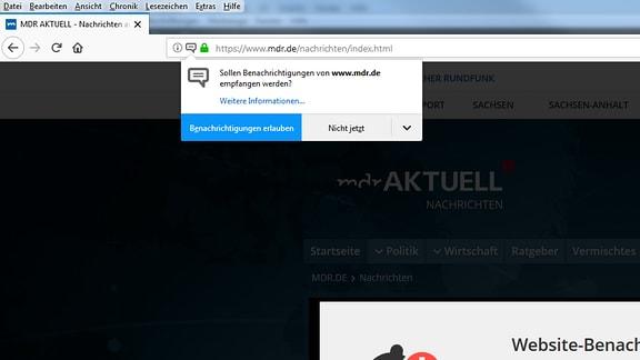 Nachfragefenster, ob WebPush erlaubt werden soll