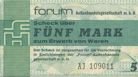Vorderseite eines Forum-Schecks aus der DDR im Wert von 5 Mark