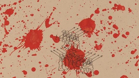 Rote Farbkleckse auf Braunem Papier