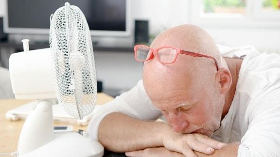 Ein Mann ruht auf dem Schreibtisch neben einem Ventilator.