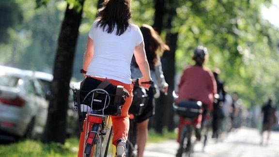 Radfahrer fahren auf einem Radweg