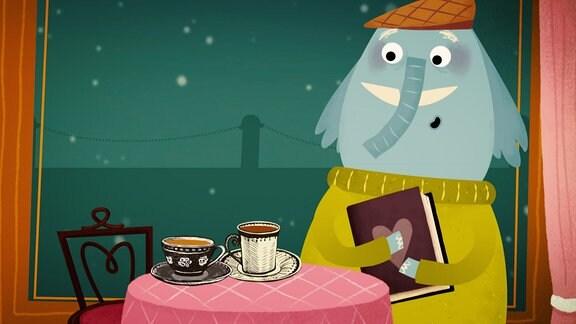 ein elefant sitzt am Tisch auf dem 2 Tassen stehen und her hat ein Buch in den Händen