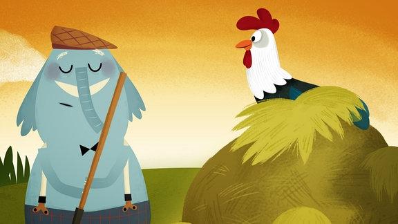 Ein Elefant und ein Huhn auf dem Bauernhof