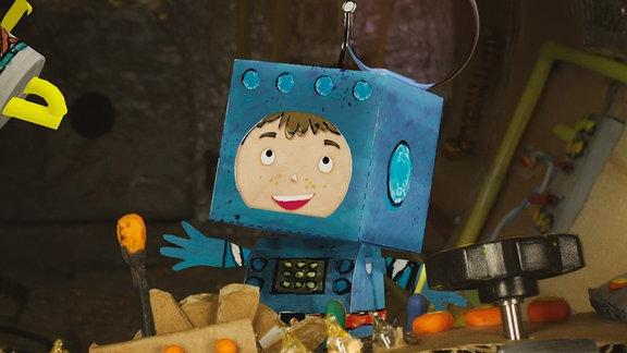 Ein Kind im Astronatuenanzug schwebt und singt