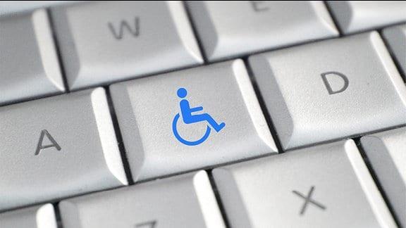 Eine Tastatur mit Rollstuhlsymbol.