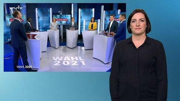 Die MDR Wahlarena mit Gästen und Politikern der im Bundestag vertretenen Parteien.