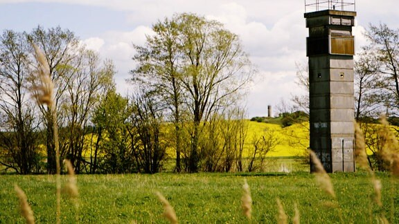 Eine grüne Landschaft mit Wiese, Bäumen und einem alten Grenzturm