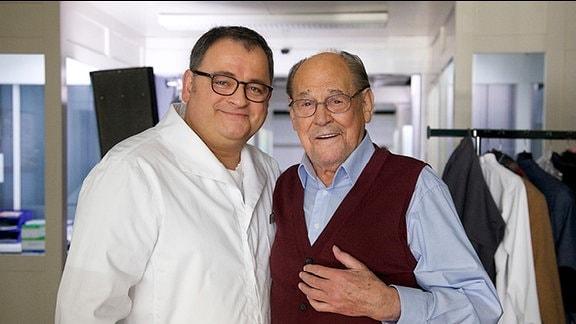 Michael Trischan und Herbert Köfer am Set.