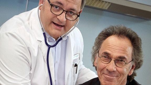 Michael Trischan und Hugo Egon Balder beim Fototermin zum Dreh der Folge 741