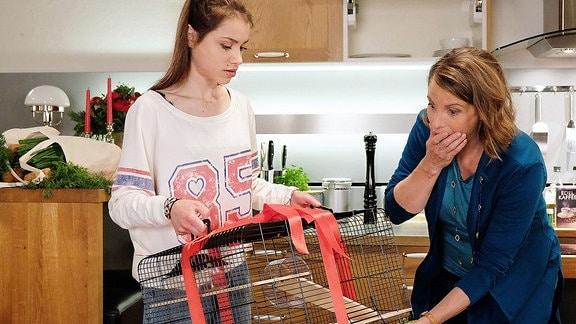 Katja und Emma blicken erschrocken in einen leeren Käfig