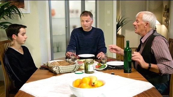 Jonas Heilmann (Anthony Petrifke), Roland Heilmann (Thomas Rühmann) und Otto Stein (Rolf Becker)