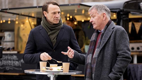 Martin Stein und Roland Heilmann bei einer Kaffeepause