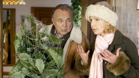 Prof. Simoni (Dieter Bellmann) und Ingrid (Jutta Kammann) kommen vom Weihnachtsbaum-Kauf zurück. Die beiden streiten sich, denn sie haben ihren Hund Hugo auf dem Weihnachtsmarkt verloren, er war plötzlich weg.
