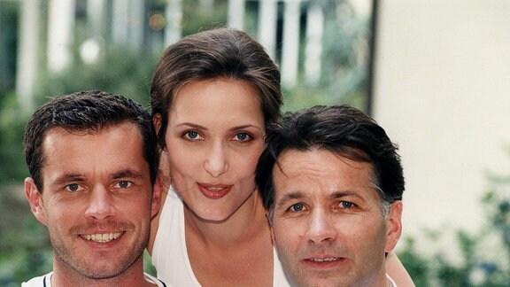 Alle drei Hauptdarsteller Achim Kreutzer (Joachim Kretzer), Roland Heilmann (Thomas Rühmann), Maia Dietz (Ina Rudolph).