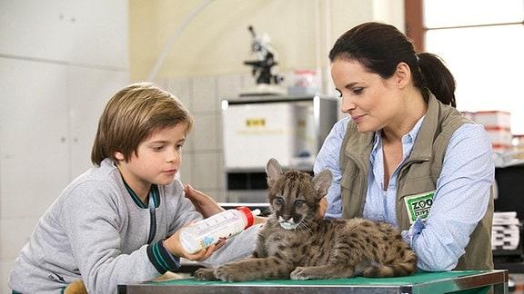 Tim Weller (Bennet Meyer) taut in der Therapie mit einem Wildkatzenbaby Dr. Mertens (Elisabeth Lanz) auf.