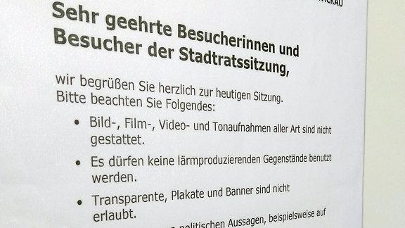 Seit Ende Oktober gibt es bei den Sitzungen des Zwickauer Stadtrats neue Regeln, um das Stören zu verhindern. Von der Zuschauertribüne aus ist das Filmen nun verboten