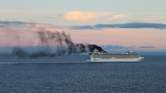 Ein Kreuzfahrtschiff auf dem Meer. Aus dem Schornstein quillt eine dicke schwarze Rauchwolke