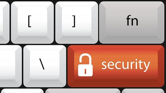 """Grafik eines Computertataturausschnitt, rote Tatse mit Aufschrift """"security""""."""
