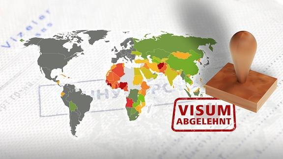 Eine Weltkarte und ein Stempelabdruck mit dem Text: Visum abgelehnt.