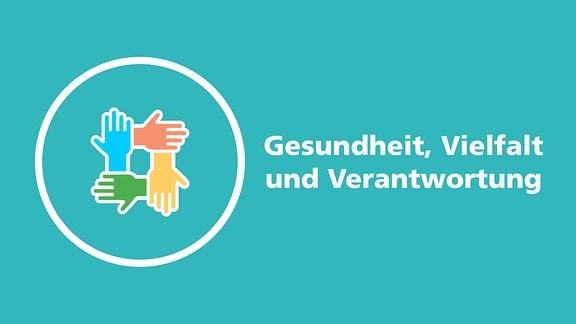 """Piktogramm mit vier Händen in verschiedenen Farben und dem Text """"Gesundheit, Vielfalt und Verantwortung""""."""