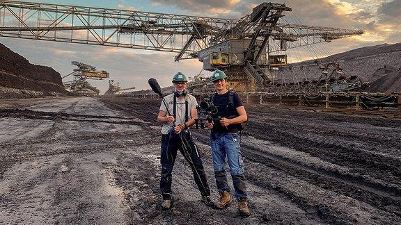 Filmteam im Tagebau