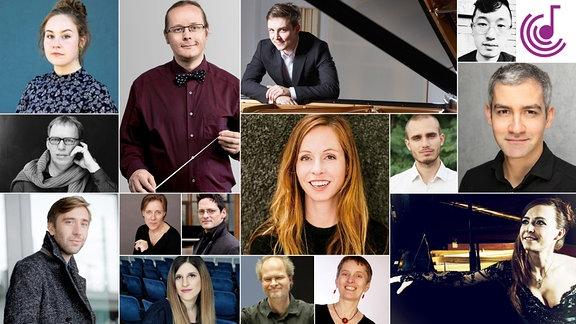 Bild zeigt eine Collage verschiedener Porträtfotos von Komponistinnen und Komponisten.
