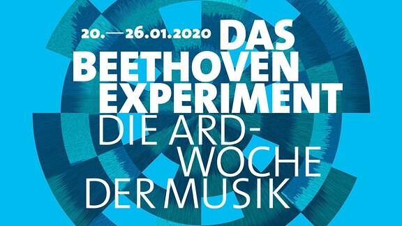 """Das Logo des Beethoven Experiments: kreisförmig angeordnete Bausteine in unterschiedlichen Blautönen. Schriftzug: """"Das Beethoven Experiment. Die ARD-Woche der Musik."""""""