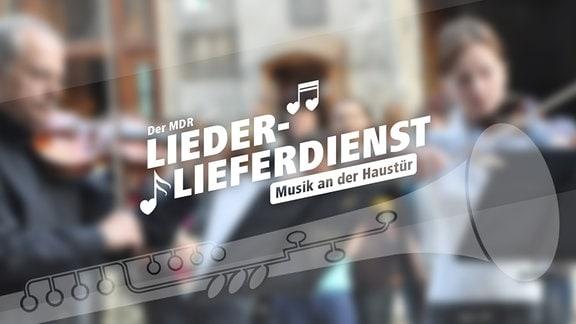 Auf dem Banner sind unscharf im Hintergurnd musizierende Menschen abgebildet, darauf Aufschrift: MDR Lieder-Lieferdienst - Musik an der Haustür