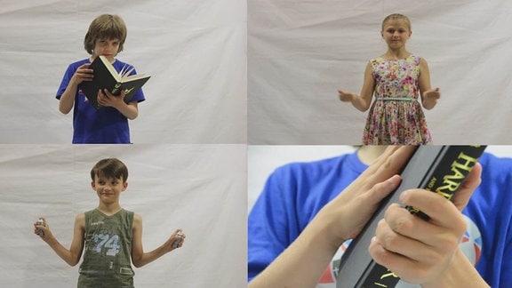 Das Bild zeigt in vier Kästen Kinder aus dem MDR-Kinderchor beim Musizieren mit Alltagsgegenständen