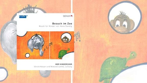"""Cover der CD """"Besuch im Zoo"""" des MDR-Kinderchors. Das Bild zeigt eine bunte Zeichnung mit einem Elefanten, einem Affen und einer Schildkröte."""