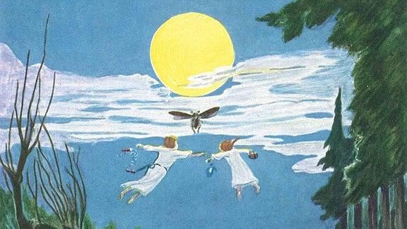 """Illustrationen von Hans Baluschek aus dem Buch """"Peterchens Mondfahrt"""""""