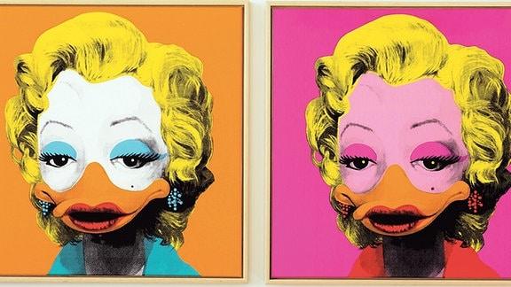 """Ein Bild aus der Ausstellung """"Duckomenta"""", das Marilyn Monroe als Ente zeigt."""