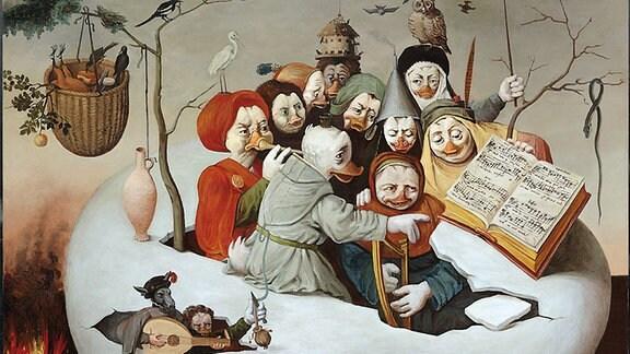"""Ein Bild aus der Ausstellung """"Duckomenta"""", auf dem mehrere Enten zu sehen sind."""